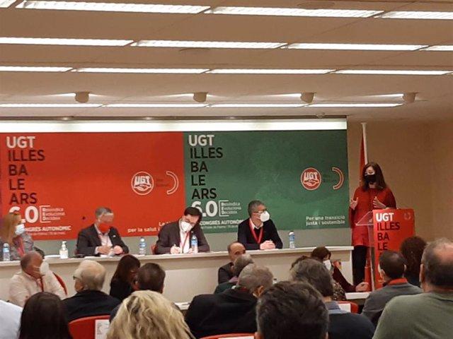 La presidenta del Govern, Francina Armengol, durante el 15 congreso de UGT Baleares.
