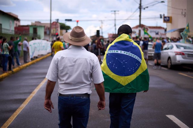 Manifestación en apoyo del Gobierno de Jair Bolsonaro en Sao Paulo