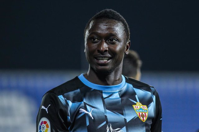 Umar Sadiq of UD Almeria looks on during the Spanish second league, Liga SmartBank, football match played between CD Leganes and Almeria  at Municipal de Butarque stadium on February 17, 2021 in Leganes, Spain.