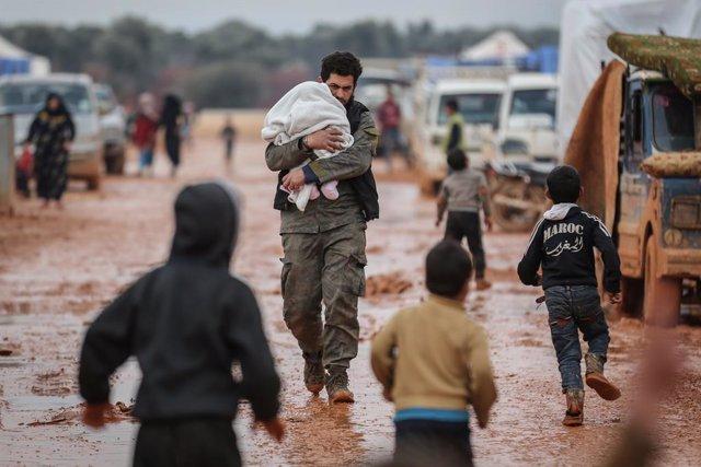 Archivo - Un campamento de desplazados en la provincia de Idlib, en el noroeste de Siria