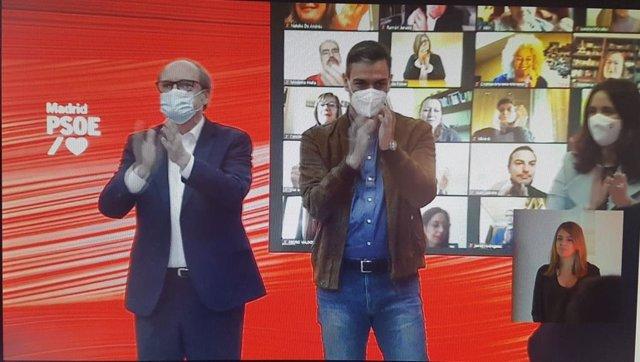 El candidato socialista al 4M, Ángel Gabilondo, y el secretario general del PSOE, Pedro Sánchez