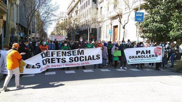 Manifestació a favor de l'habitatge a Barcelona.