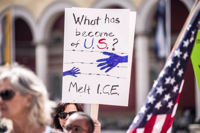 Manifestación contra la política de retención de los menores no acompañados en Estados Unidos