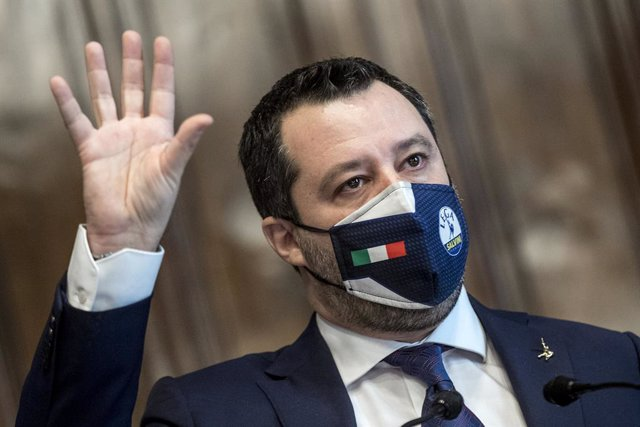Archivo - 06 February 2021, Italy, Rome: Matteo Salvini, Federal Secretary of the Northern League speaks during a press conference at the Chamber of Deputies on the consultations of designated-prime minister Mario Draghi, for the formation of a new govern