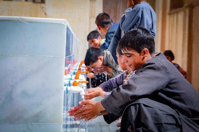 Children happy faces for WASH facilities, Herat.