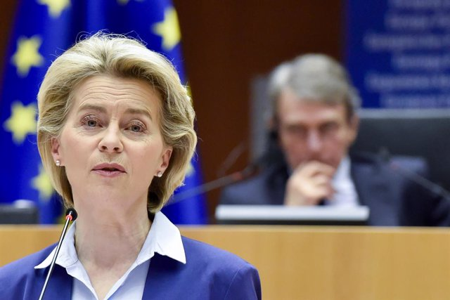 HANDOUT - 10 March 2021, Belgium, Brussels: European Commission President Ursula von der Leyen speaks during the signing ceremony to launch the Conference of the Future of Europe at the European Parliament in Brussels. Photo: Eric Vidal/European Parliamen
