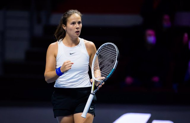 Daria Kasatkina of Russia in action during the final of the 2021 St. Petersburg Ladies Trophy WTA 500 tournament against Margarita Gasparyan of Russia