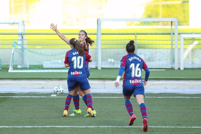 Alba Redondo Ferrer of Levante UD celebrates a goal during the Spanish women league, Primera Iberdrola, football match played between Real Madrid and Levante UD at Ciudad Deportiva Real Madrid on March 21, 2021 in Valdebebas, Madrid, Spain.