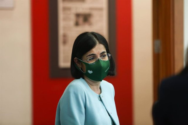 La ministra de Sanidad, Carolina Darias, tras ofrecer una rueda de prensa tras la reunión del Consejo Interterritorial de Salud, en Madrid (España), a 17 de marzo de 2021.