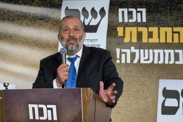 Archivo - El líder del partido ultraortodoxo israelí Shas, Aryeh Deri