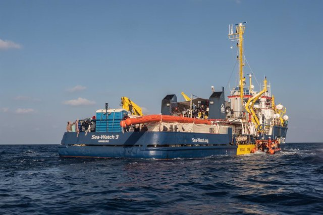 """HANDOUT - 28 February 2021, ---: The """"Sea-Watch 3"""" ship of the German sea rescue organization Sea-Watch sails in the Mediterranean Sea. Photo: Selene Magnolia/Sea-Watch/dpa - ATTENTION: editorial use only in connection with the latest coverage and only if"""