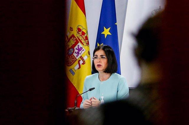 La ministra de Sanidad, Carolina Darias, ofrece una rueda de prensa tras la reunión del Consejo Interterritorial de Salud, en Madrid (España), a 17 de marzo de 2021