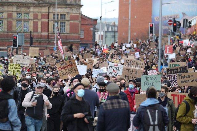 Manifestación en Bristol por la nueva y controvertida ley policial.