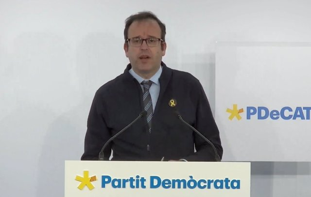 El portaveu del PDeCAT, Marc Solsona, en una roda de premsa telemàtica (Arxiu)