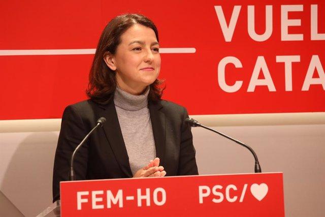 Eva Granados (PSC) en una roda de premsa.