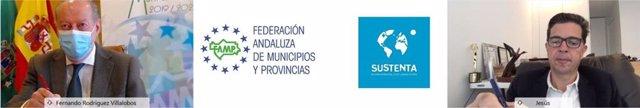 El presidente de la FAMP y de la Diputación de Sevilla, Fernando Rodríguez Villalobos, y presidente de la Asociación Sustenta, Jesús Martínez Linares, este lunes en la firma del acuerdo.