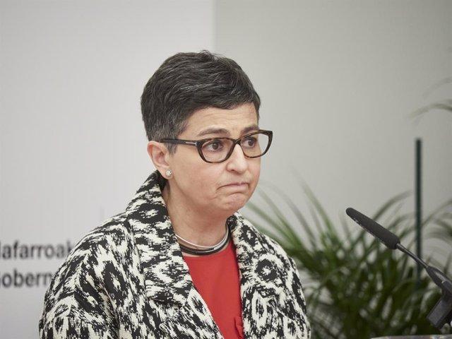 La ministra de Asuntos Exteriores, Unión Europea y Cooperación, Arancha González Laya interviene en el Palacio de Gobierno de Navarra, Pamplona, Navarra (España), a 5 de marzo de 2021. Durante su visita ha mantenido diversos encuentros con el Gobierno de