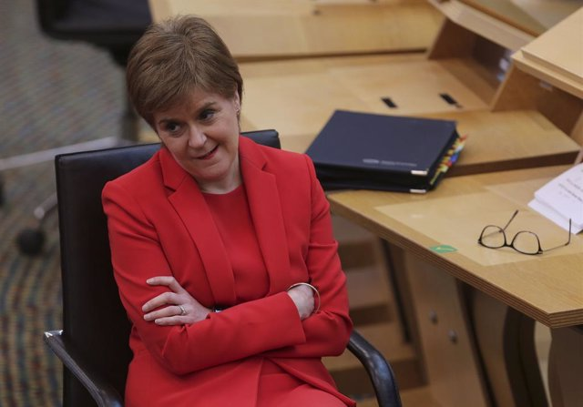 18 March 2021, United Kingdom, Edinburgh: First Minister of Scotland Nicola Sturgeon attends the First Minister's Questions at the Scottish Parliament. Photo: Fraser Bremner/Daily Mail via PA Wire/dpa
