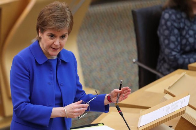 16 March 2021, United Kingdom, Edinburgh: First Minister of Scotland Nicola Sturgeon speaks during a session of the Scottish Parliament. Photo: Russell Cheyne/PA Wire/dpa