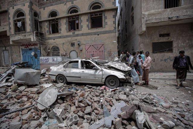 Archivo - Ataque aéreo en Yemen