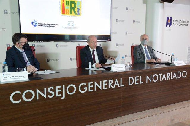 El ministro de Justicia, Juan Carlos Campo, en el lanzamiento de la nueva plataforma de comunicación de IberRed