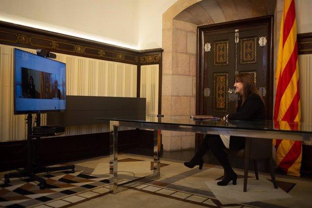 Reunió de la presidenta del Parlament, Laura Borràs, i el president del PP català, Alejandro Fernández, en la ronda de consultes per proposar un candidat a la investidura de president de la Generalitat.