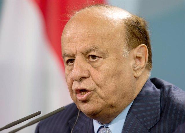 Archivo - El presidente de Yemen reconocido internacionalmente, Abdo Rabbu Mansur Hadi