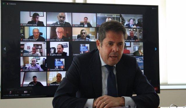 El presidente de la CGE, Gerardo Cuerva, en rueda de prensa telemática junto a los presidentes de los principales sectores económicos y territorios de la provincia para analizar el impacto de la crisis económica en el tejido empresarial granadino.