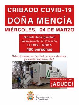 El Ayuntamiento de Doña Mencía, a través de sus redes sociales, llama a participar en el cribado del Covid de este miércoles.