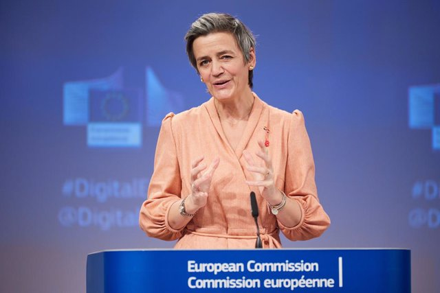 HANDOUT - 09 March 2021, Belgium, Brussels: European Executive Vice-President Margrethe Vestager speaks during a press conference on the 2030 Digital compass, following the weekly meeting of EU Commissioners at EU headquarters in Brussels. Photo: Claudio
