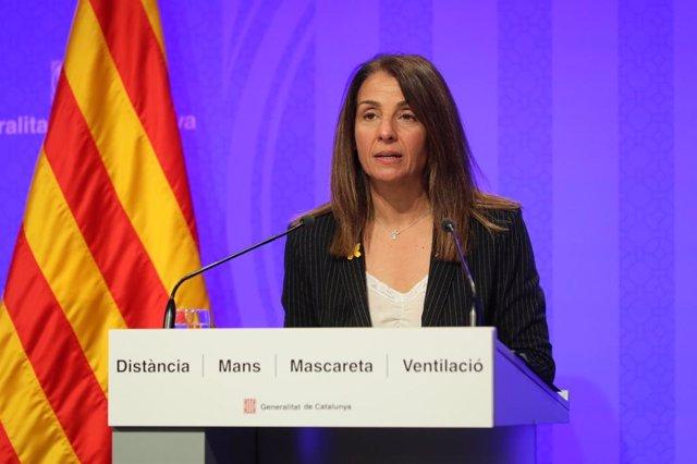 La portavoz del Govern en funciones, Meritxell Budó, en rueda de prensa tras reunirse el Consell Executiu.