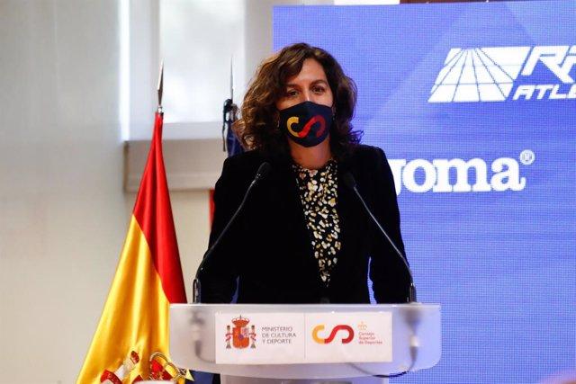 La presidenta del CSD, Irene Lozano, en un acto institucional en la sede del Consejo en Madrid.