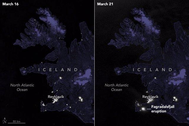 Brillo emitido por el volcán islandés Fagradalsfjall