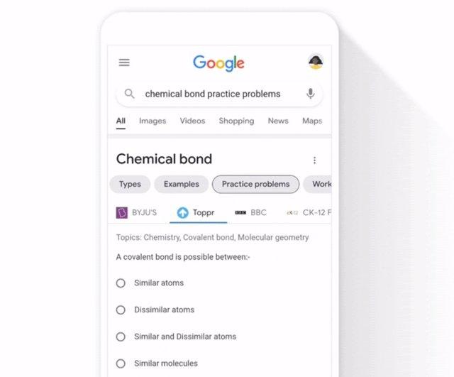 Problemas interactivos de ciencias en el Buscador de Google.