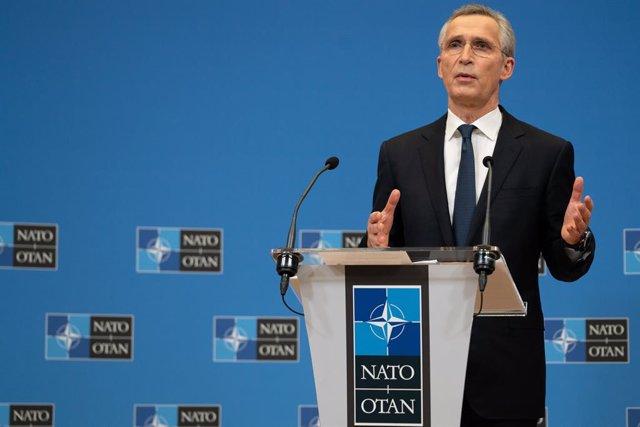 Archivo - El secretario general de la OTAN, Jens Stoltenberg, durante una rueda de prensa en Bruselas