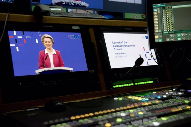 HANDOUT - 18 March 2021, Belgium, Brussels: President of the European Commission Ursula von der Leyen takes part in the European Innovation Council via videoconference. Photo: Etienne Ansotte/European Commission/dpa - ATTENTION: editorial use only and onl