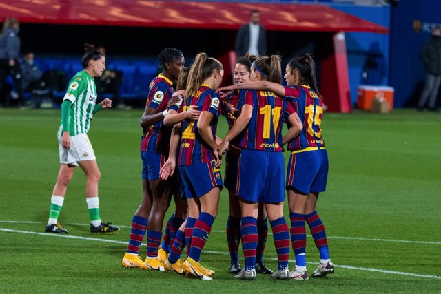 Archivo - Fc Barcelona Femeni celebrates a goal during the Liga Iberdrola match between Fc Barcelona Femeni and Real Betis Femanino  at Johan Cruyff Stadium on February 10, 2021 in Barcelona, Spain.