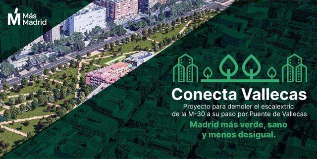 Conecta Vallecas es una propuesta de Más Madrid para desmontar el Scalextric de la M-30 a su paso por el distrito de Puente