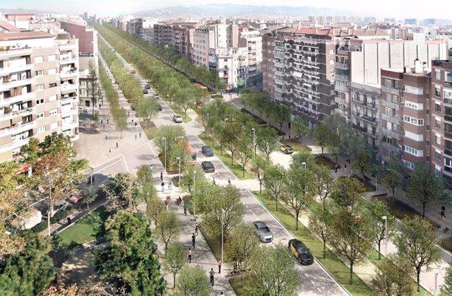 Remodelació que es farà en l'avinguda Meridiana entre els carrers Mallorca i Navas.