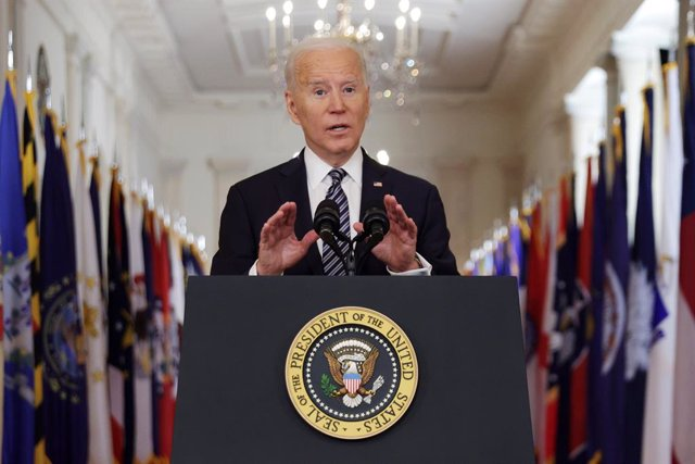 El presidente de Estados Unidos, Joe Biden, en su primer discurso a la nación.