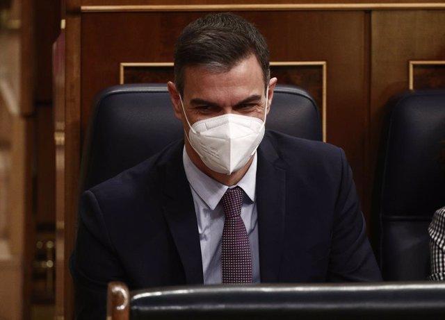 El president del Govern central, Pedro Sánchez, durant una sessió de control al Congrés dels Diputats. Madrid (Espanya), 17 de març del 2021.