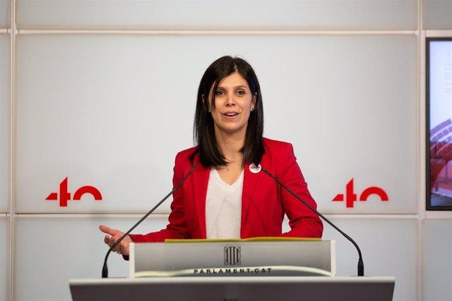La secretària general adjunta i portaveu d'ERC, Marta Vilalta, en una roda de premsa.