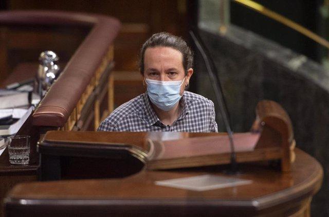 El vicepresidente segundo del Gobierno, Pablo Iglesias, en el Congreso de los Diputados el 24 de marzo de 2021.