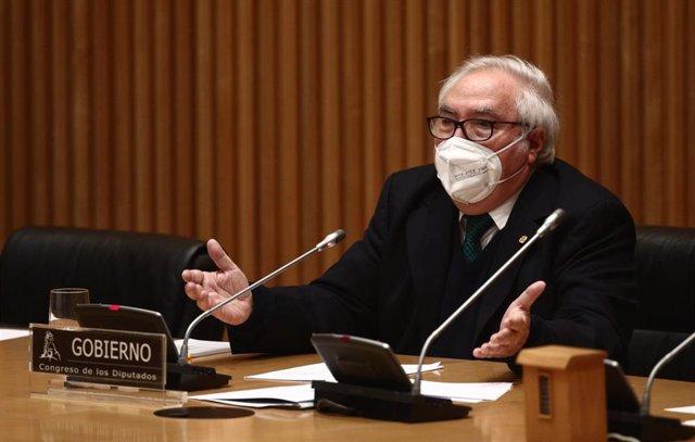 El ministro de Universidades, Manuel Castells, en la Comisión de Ciencia, Innovación y Universidades del Congreso el pasado 25 de febrero