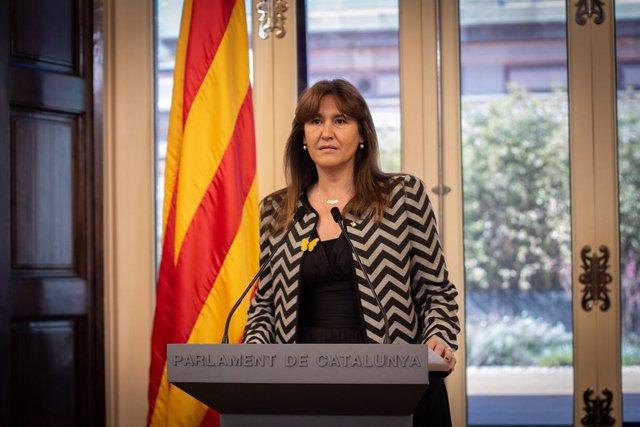 La presidenta del Parlament, Laura Borràs, en la compareixença en la qual ha proposat Pere Aragonès per ser candidat a la investidura a la presidència de la Generalitat.