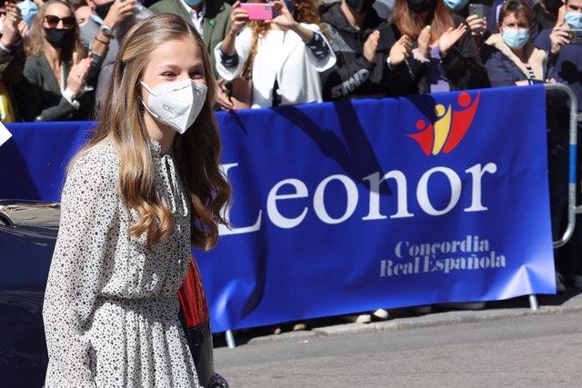 La Princesa Leonor llega a la Sede del Instituto Cervantes, en Madrid (España), a 24 de marzo de 2021.