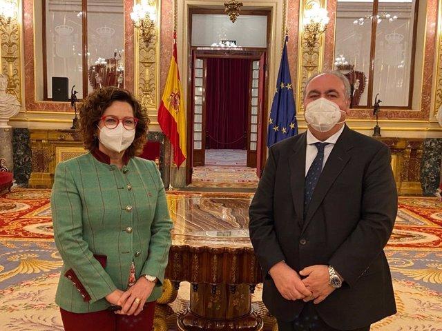 Los parlamentarios del PP Carmen Riolobos y Vicente Tirado en el Congreso
