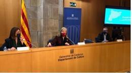 La consellera Àngels Ponsa i la directora de Política Lingüística Ester Franquesa