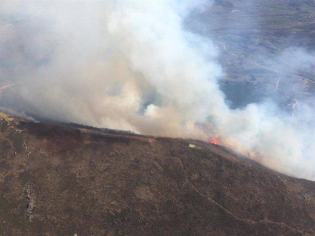 Imagen del incendio declarado en Valdepiélago (León).