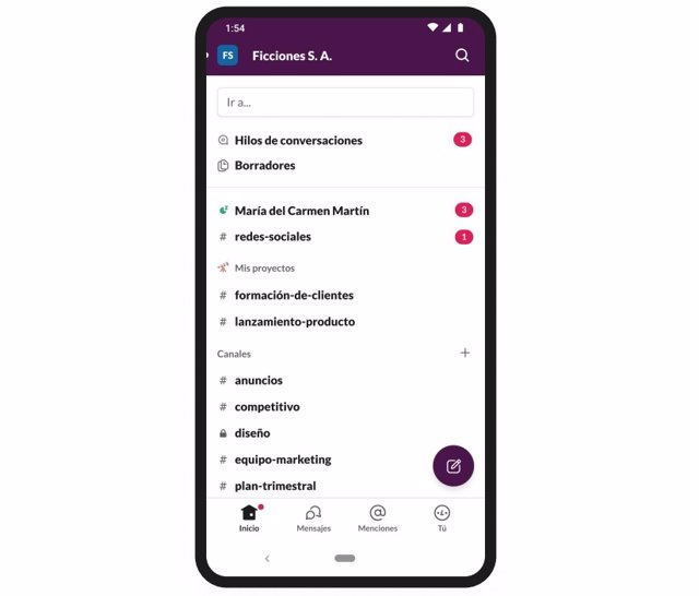 Archivo - App de Slack para Android